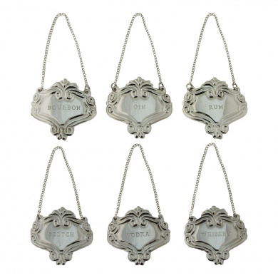 Silver Engraved Fancy Floral Decanter Labels Liquor Bottle Label Tag Set/6 Tags