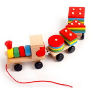 AiSi Wooden Toys Pull Along Train Stacker Geometric Stacker Building Blocks Education Toy