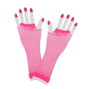 80s Neon Net Gloves Long Costume Accessory
