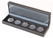 NERA Coin Case S for 5 pcs. German 5 Euro in capsules [Lindner S2362-5EK], incl. 5 matching LINDNER Coin Capsules