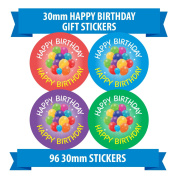 "96 30mm ""HAPPY BIRTHDAY"" gift stickers ballons party children"