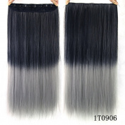 """24"""" (60cm) 110G Natural Black to Dark Grey 2-tone Ombre Colour Silky Straight Clip in Hair Extensions One Piece 5Clips for a Full Head"""