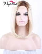 K'ryssma Short Bob Wigs for Girls Blonde Ombre Brown Roots Soft Hair Synthetic Lace Front Wig Side Part Heat Resistant Fibre Half Hand Tied