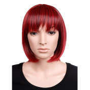 S-noilite Red Black Mix BOB Short Full Head Wig Cosplay Party Daily Dress Synthetic Top Quality