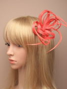 Coral looped hessian net and feather fascinator on a beak clip with brooch pin.