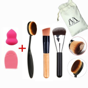 VALUE MAKER 3+2 Makeup Brushes Tools Kit-3Pcs Pro Face Make Up Brush+Sponges Puff+Brush Egg-Oval Cream Concealer Toothbrush Contour Foundation Brush-Beauty Cosmetics+Travel Pouch
