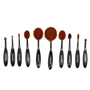 Kingstar Soft Oval Toothbrush Makeup Brushes Set of 10 Professional Cosmetic for Cream Contour Powder Blush Concealer