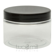 25 x 100mL CLEAR PLASTIC PET COSMETIC SQUAT JARS with BLACK SCREW LIDS for Creams/Liquids/Make Up/Travel/Oils