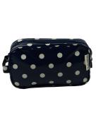 Leonardo Navy Blue Polka Dot Washbag Cosmetics Bag Wipe Clean Oil Cloth