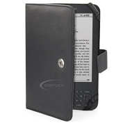 DIGIFLEX Black Leather Case Cover Wallet for Amazon Kindle 3 3G