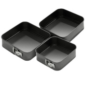 Jazooli 3pc Non-Stick Baking Springform Square Cake Tin Tray Pan Set Kit Spring Loaded
