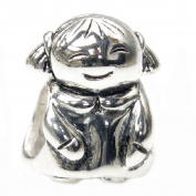 Queenberry Sterling Silver Little Girl European Style Bead Charm