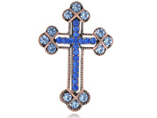 Alilang Copper Tone Sapphire Blue Coloured Rhinestones Holy Cross Brooch Pin