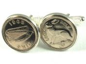 1966 50th Birthday Irish Threepence coin cufflinks - Great gift idea 1966 3d