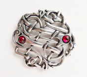 Celtic Open Wave Pewter Pin Badge With Red Gemstones - Hand Made in Cornwall