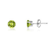 Kezef Round 3mm Extra Small Genuine Green Peridot .925 Sterling Silver Baby Stud Earrings