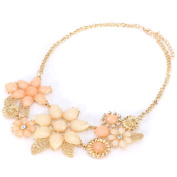 Colourful Flower Statement Crystal Bib Choker Collar 18K Gold Plated Necklace