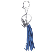 SENFAI Suede Leather Jewellery Blue Fibre Fringe Tassel Charms Silver Crystal Teapot Keychains