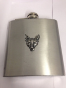 Fox Head WE-WLFOXKR English Pewter Emblem on a 180ml Stainless Steel Hip Flask with Captive Top