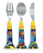 Blaze Shaped Cutlery, Plastic, Blue, Set of 3