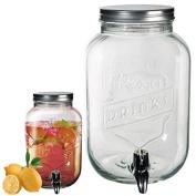 Large 3.5L Glass Tabletop Drink Dispenser Mason Jar with Tap for Juice Punch Cocktails Water Beverages