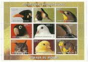 Birds of the world mint stamp sheet - 9 stamps issued in 1999 Republic of Madagascar / Mint and unmounted