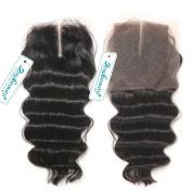 Rosabeauty Bleached Knots Brazilian Virgin Hair Lace Closure Loose Wave 100% Human Hair Top Closure Middle Part Swiss Lace 4*3.5