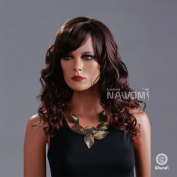 AABABUY New Women Curly Wig Medium Long Curly Wig Brown Curly Wig Synthetic Wig