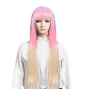 DAOTS Halloween Wig Hair Wig for Women Synthetic Cosplay Costume Party Wig Full Wig,70cm Long Colourful Wigs with Bangs,Heat Resistant,Daily Use,Free Cap and Free Hair Pins