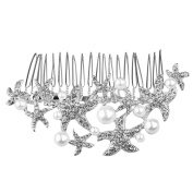 WINOMO Starfish Wedding Comb Prom Bridal Bridesmaid Crystal Hairpiece Accessory