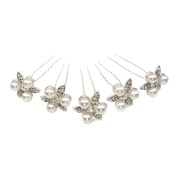 LEORX Bling Bling Wedding Bridal Women's U-Shaped Hairpins Hair Clips - 5 Pieces