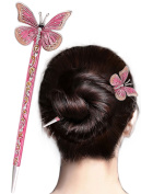 LiveZone Fashion Hair Decor Chinese Traditional Style Women Girls Hair Stick Hairpin Hair Making Accessory with Butterfly ,Pink