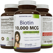 Natural And Pure Biotin For Hair Growth In Men And Women - Combat Hair Loss + Weight Loss Aid + Reduce Thinning Hair- Potent Vitamins For Hair Growth - Biotin Supplement By Huntington Labs