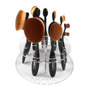 Toraway 10 Hole Oval Makeup Brush Holder Drying Rack Organiser Cosmetic Shelf Tool