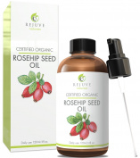Certified Organic Rosehip Seed Oil, Pure & Cold Pressed by RejuveNaturals, 120ml | Anti Ageing, Antioxidant Rich Skin Moisturiser for Improving the Look of Face Wrinkles, Scars, Acne & Stretch Marks