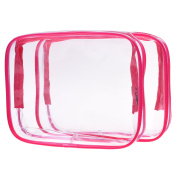Cosmos ® 2 Pack Clear PVC Vinyl Zippered Luggage Toiletry TSA Carry Pouch Travel Cosmetic Makeup Bag Clear Quart Bag