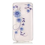 BLT® LG K7 Blue Flower Case, Soft Durable Case Cover Skin for LG K7 with a Phone Bracket