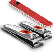 Piranha Nail Clippers Set for Nail Care - Nail Cutter for Fingernails and Toenail - with Nail File and Buffer - Prevents Toenail Fungus and Ingrown Toenail - Manicure Set - Cuticle Grooming Kit