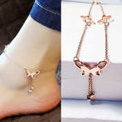 Adecco LLC Butterfly Tassel Rose Gold Titanium Steel Chain Barefoot Sandals Ankle Bracelet
