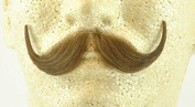 Handlebar Moustache LIGHT BROWN - 100% Human Hair - no. 2013 - REALISTIC! Perfect for Theatre - Reusable!