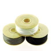NYMO Nylon Beading Thread Size D for Delica Beads, 64 Yards per Bobbin, White, Grey & Black