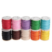 WINOMO 10 Rolls of Waxed Cotton Cord Thread Beading Cord 10M 1mm