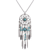 JewelryLove Women's Bohemia Style Necklace Pendants Feather Long Chain Vintage Tassel Dream Catcher Necklaces Collar Gift