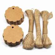 Scalloped Wedding Brown Kraft Paper Tag Lolly Bag Wedding Party Favour Round Gift Tags Dia 6cm 100 Pieces with 30m Jute Twines