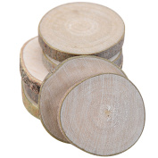 20 PCS Mini Assorted Size Natural Colour Tree Bark Wood Log Slices Round Disc Slice for Arts Crafts Home Decoration