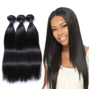 """Mornice Hair 100% Unprocessed Peruvian Remy Virgin Hair Weft Weave 3 Bundles 300G 8A Grade Real Silky Straight Human Hair Extensions Natural Black 12""""14""""16"""""""