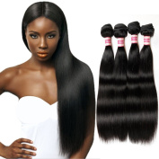 Fabeauty 7A (22 24 26 28) Unprocessed Peruvian Straight Hair 4 Bundles, 8-70cm Available Mixed Length, 100% Virgin Silky Human Hair Extensions,Natural Black