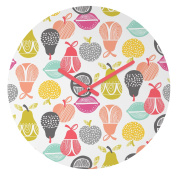 DENY Designs Wendy Kendall Retro Fruit Round Clock, 30cm Round