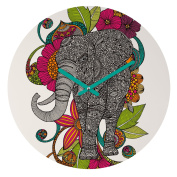DENY Designs Valentina Ramos Ruby The Elephant Round Clock, 30cm Round
