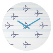 DENY Designs Vy La Aeroplanes and Stripes Round Clock, 30cm Round